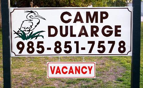 Camp Dularge Sign