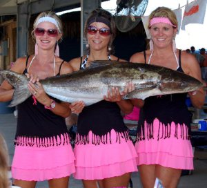 Three Rodeo Fisher-women and their Cobia