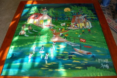 Circle of Life painted in reverse on glass coffee table