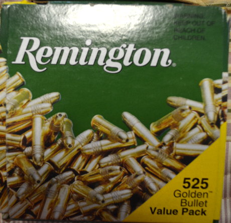 Box of .22 bullets, a rare find in these parts