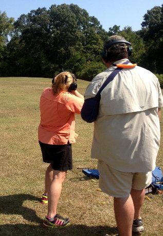 Brave Bubba teaching me how to shoot a 20 gauge shotgun