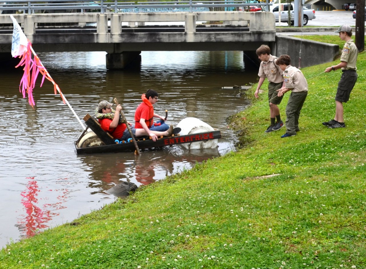 "Scout Troop 311 braves the Bayou in a ""Flintstone"" inspired Recycled Raft"
