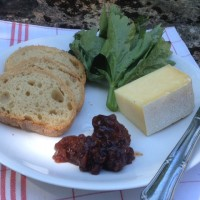 Fig Chutney with pain de campagne, baked freshly every morning by in the village, Cantal cheese made east of her home near where the Dordogne rises.