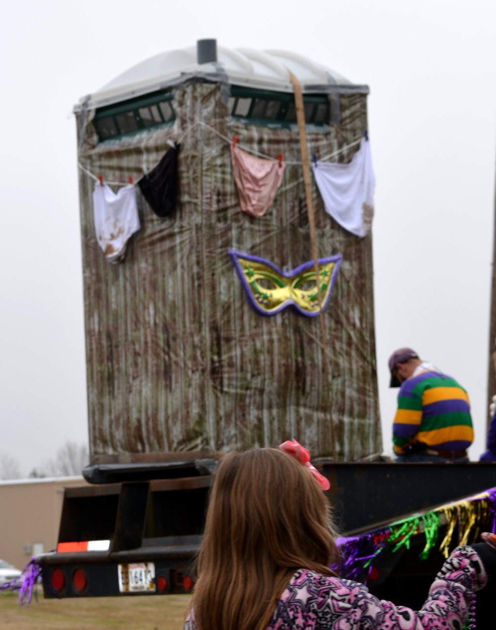 Every wagon and float was equipped with a porta-potty.  The decor on this one made me laugh!