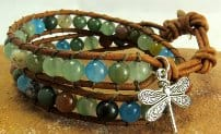 NEW: Leather Wrap Bead Bracelet-Dragonfly charm